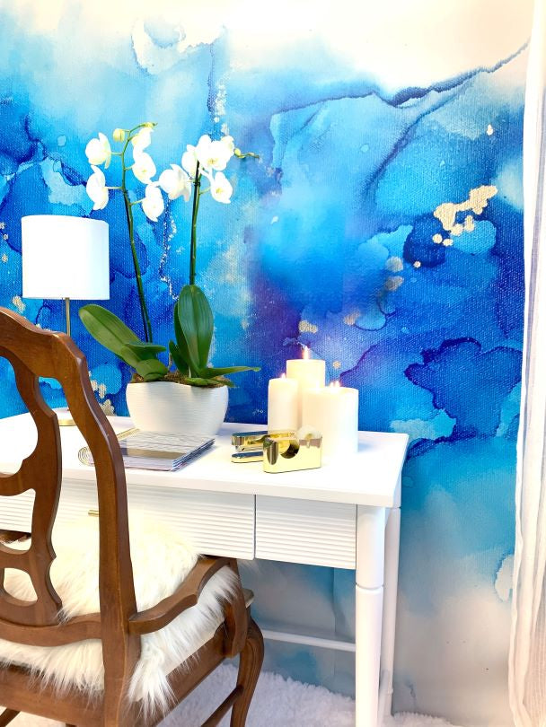 Cover photo of a blue abstract wall mural, white office wall art