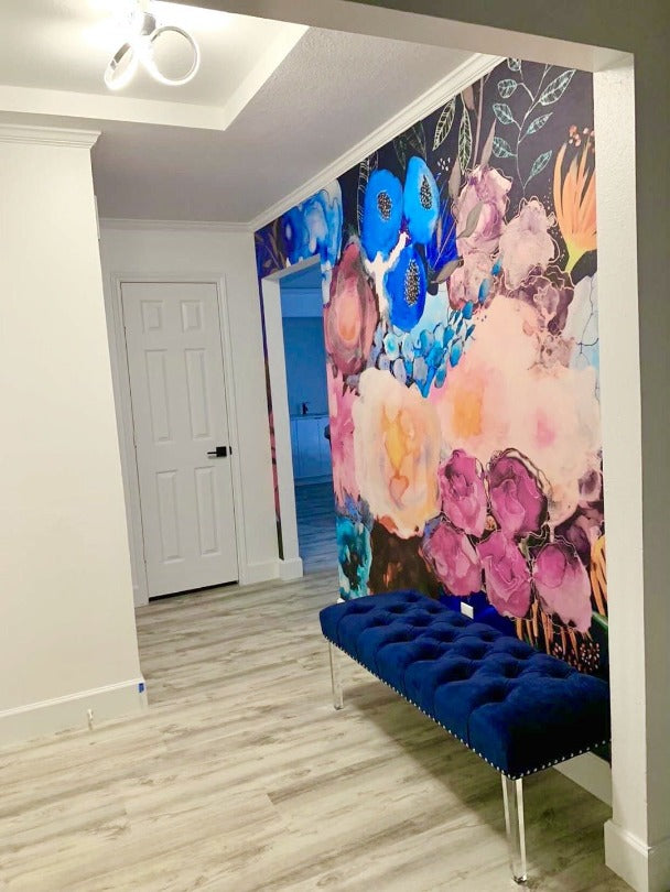 Foyer accent wall removable wallpaper of watercolor flowers