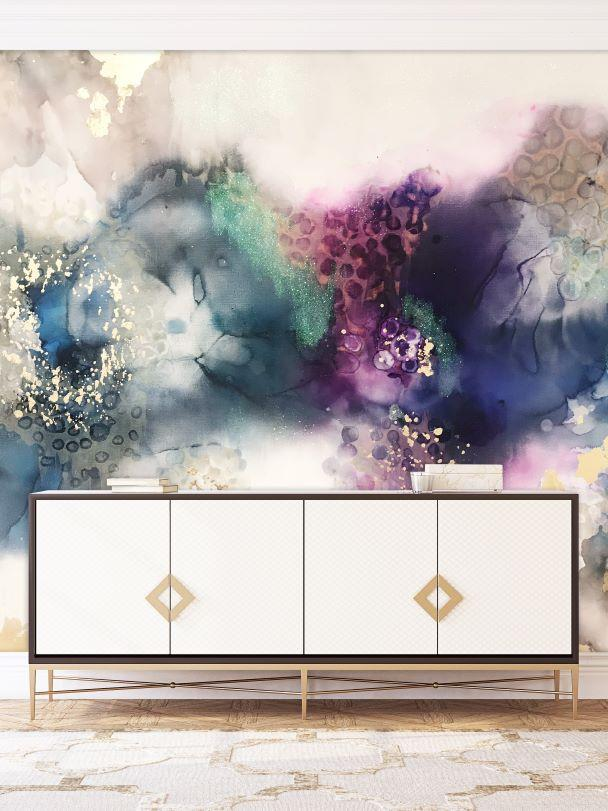 hand painted abstract wall mural in hallway