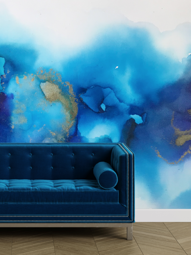 Cover photo of a blue abstract wall mural