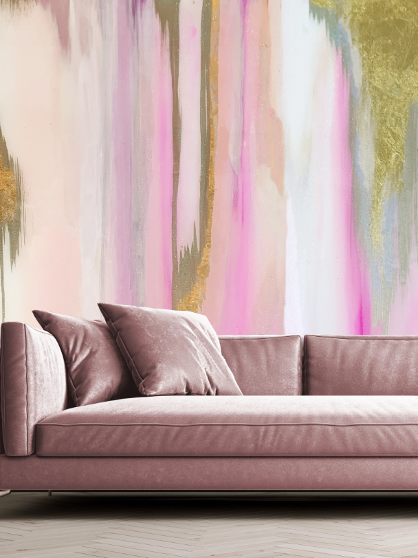 Pink and Gold Accent Wall Wallpaper Behind Sofa