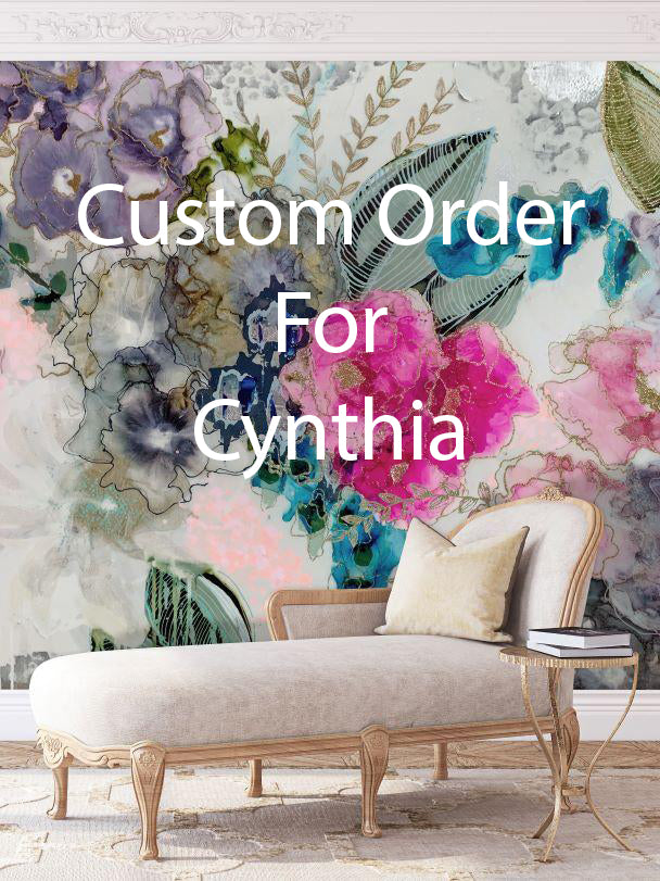 "Custom ""Wisteria"" Wall Mural 64"" TALL X 54' WIDE FOR CYNTHIA"