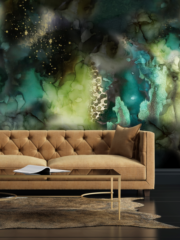 Green removable wall mural