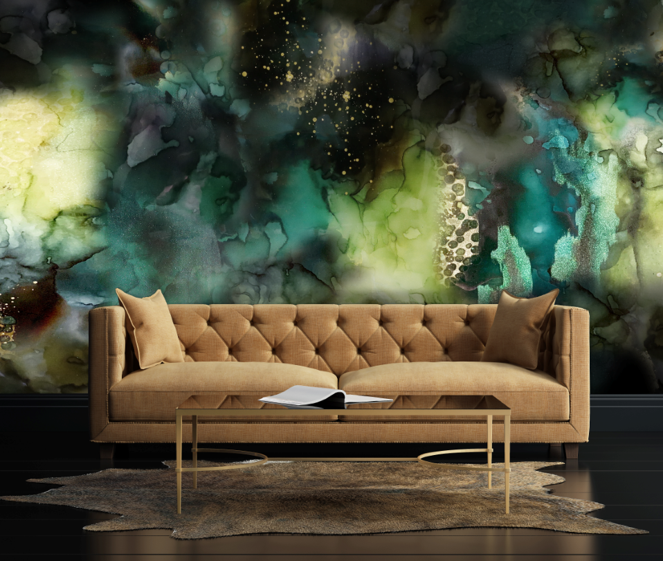 Green and gold living room wall mural