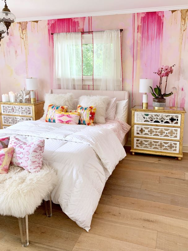 little girls bedroom room pink large wall art matching pillow