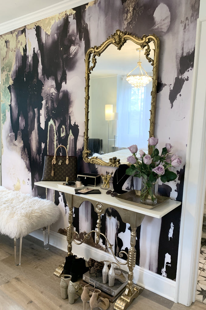 black and gold wallpaper wall mural with french interior decor