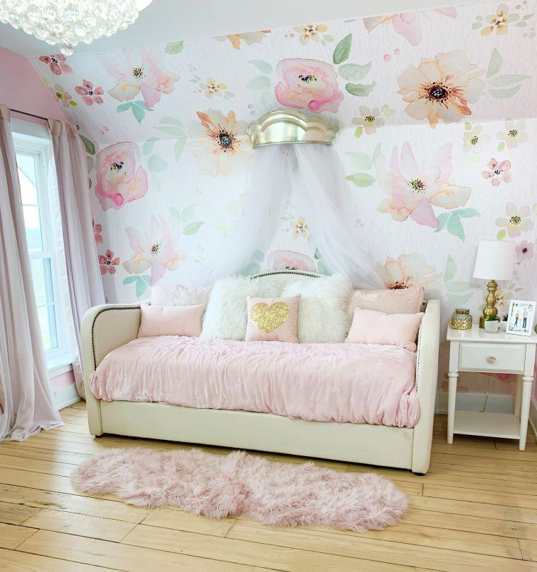 Floral watercolor wallpaper in girls bedroom