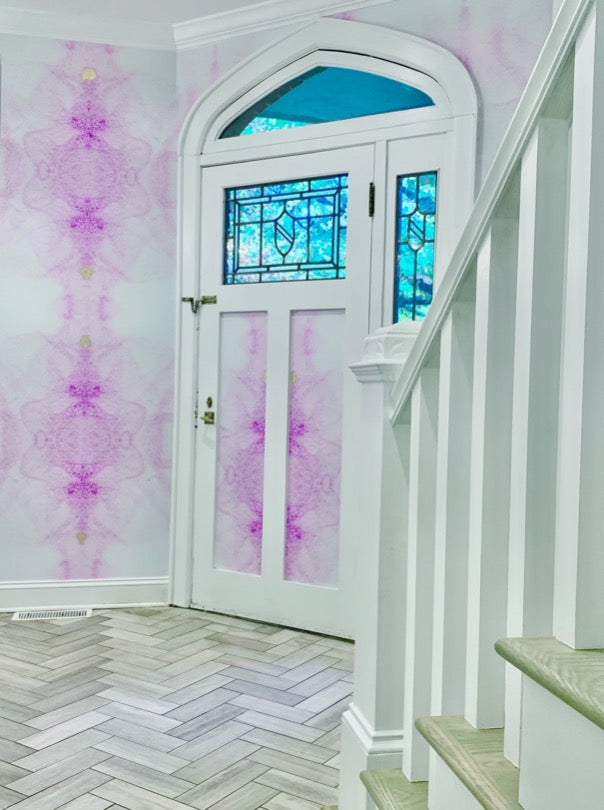 Purple watercolor wallpaper in foyer