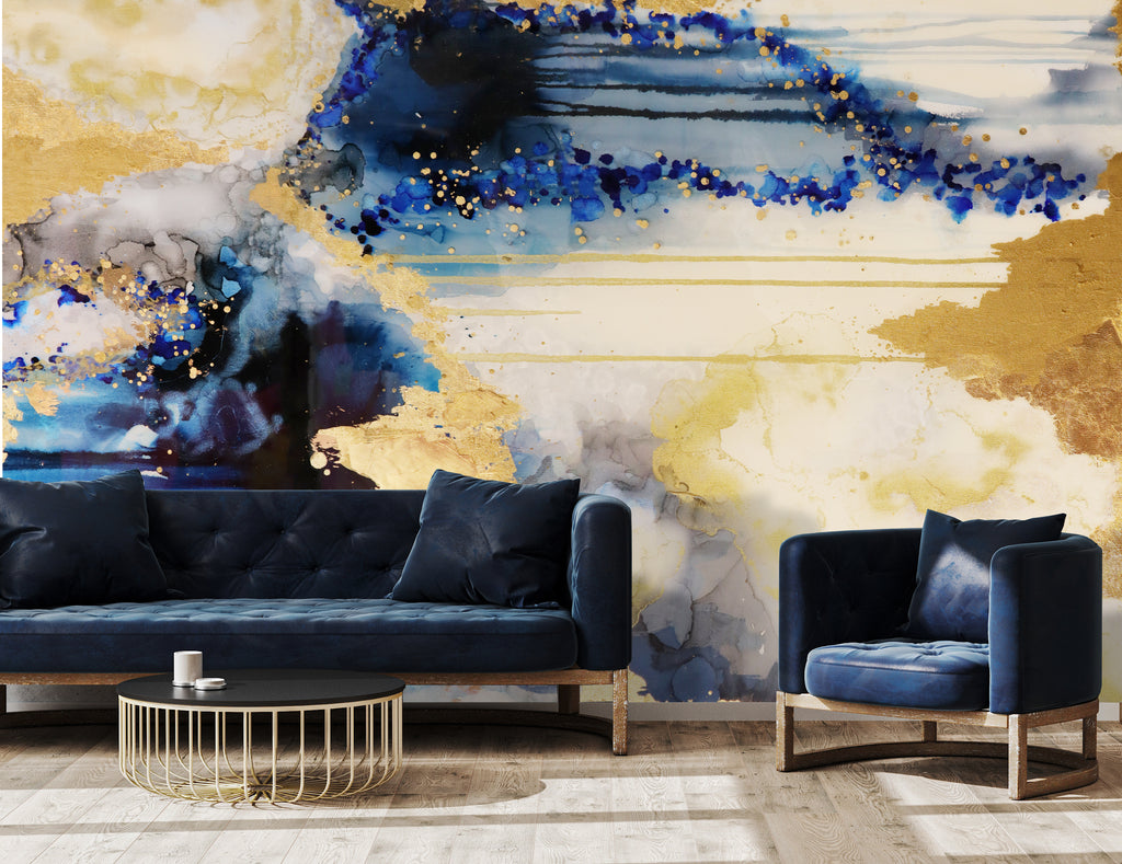 Blue and gold abstract accent wall