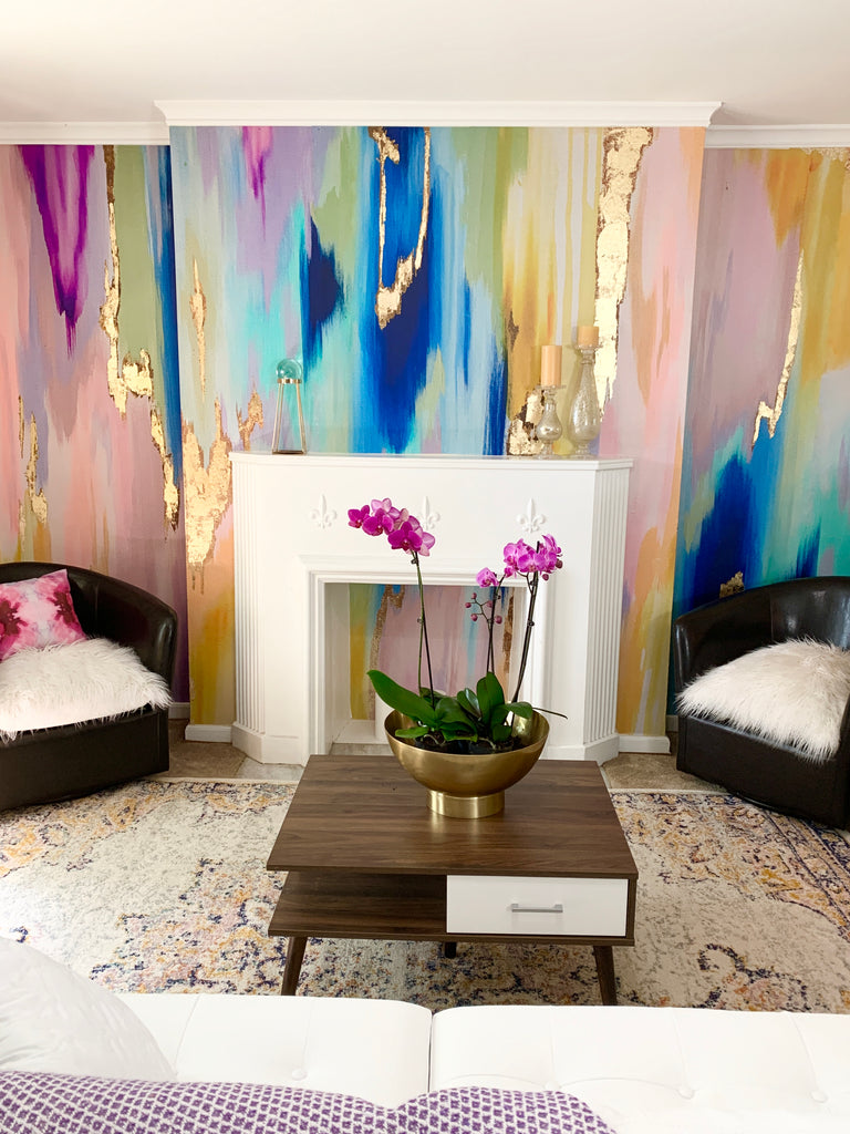 """Rainbow Eucalyptus"" Wall Mural 9' tall x 10' wide"