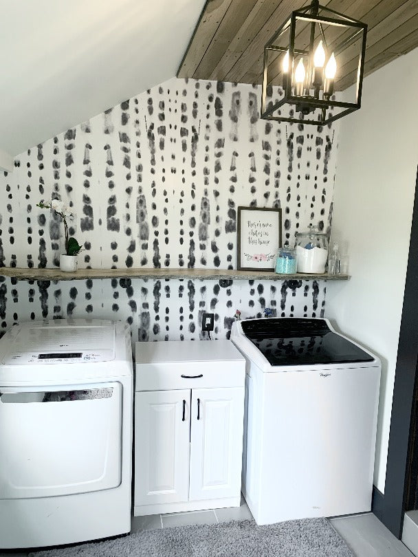 Laundry Room Removable Wallpaper Decal Grey Dots
