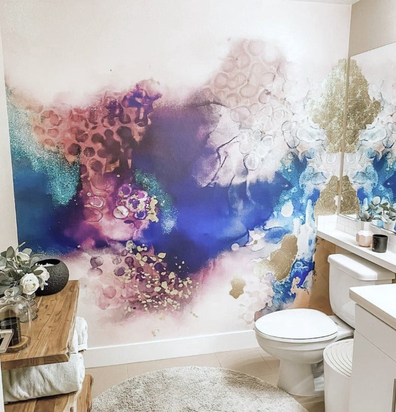 Client Photo:  Galaxy Wallpaper in Powder Room