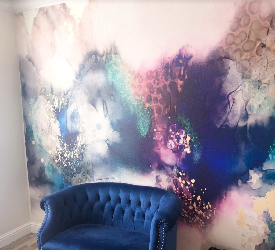 Client Photo: Peel and Stick  Abstract Accent Wall