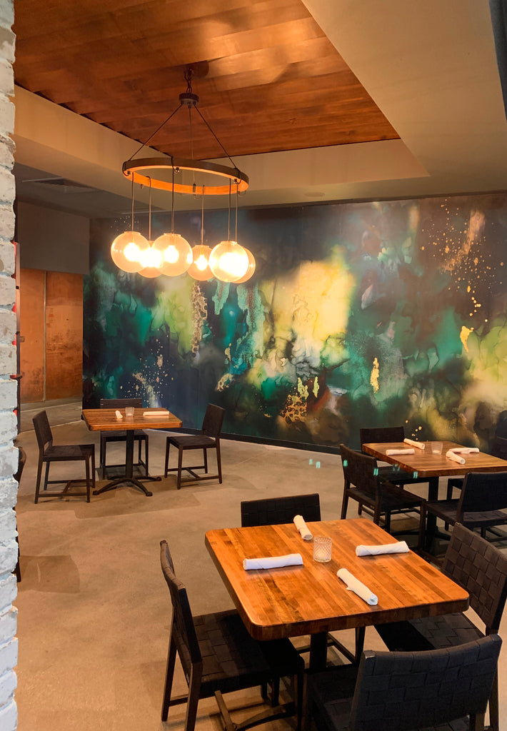 Gastro Pub Wall Mural - Green electric with gold and copper metallic foil