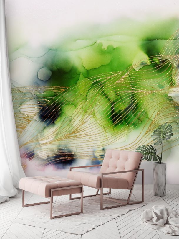 Abstract green removable wall mural wallpaper
