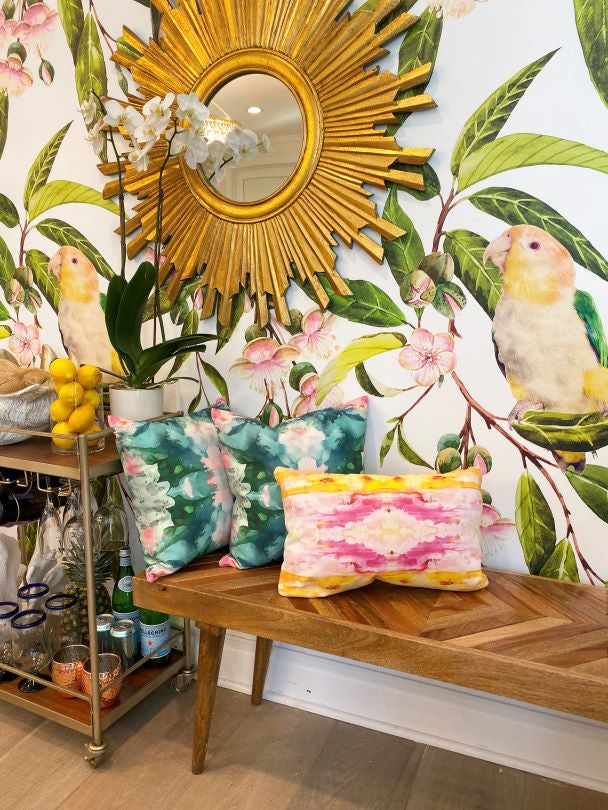 Tropical interior design, tropical wallpaper, bird wallpaper