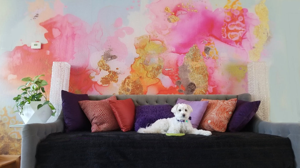 Pink abstract wall mural in living room by Lily Dong Photography