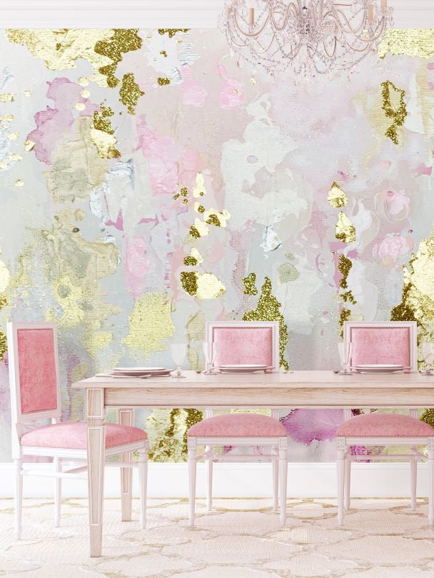 Blush formal dining room wallpaper mural