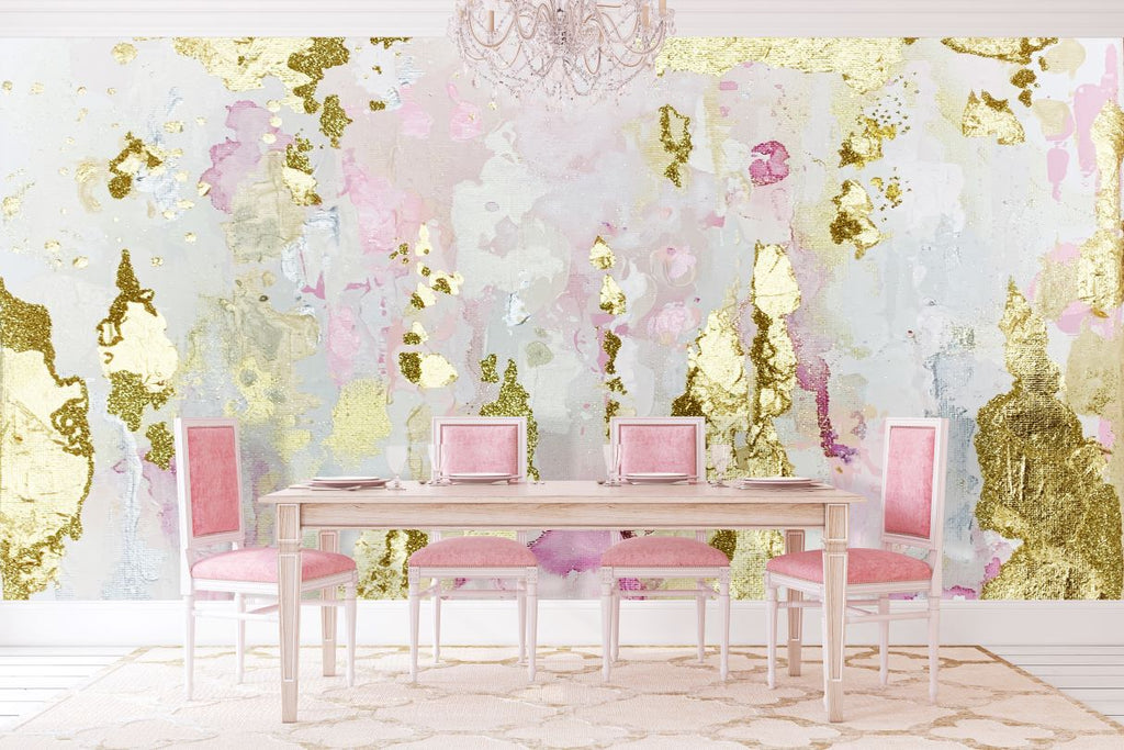 Vivian Ferne abstract pink wall mural for sale with real gold