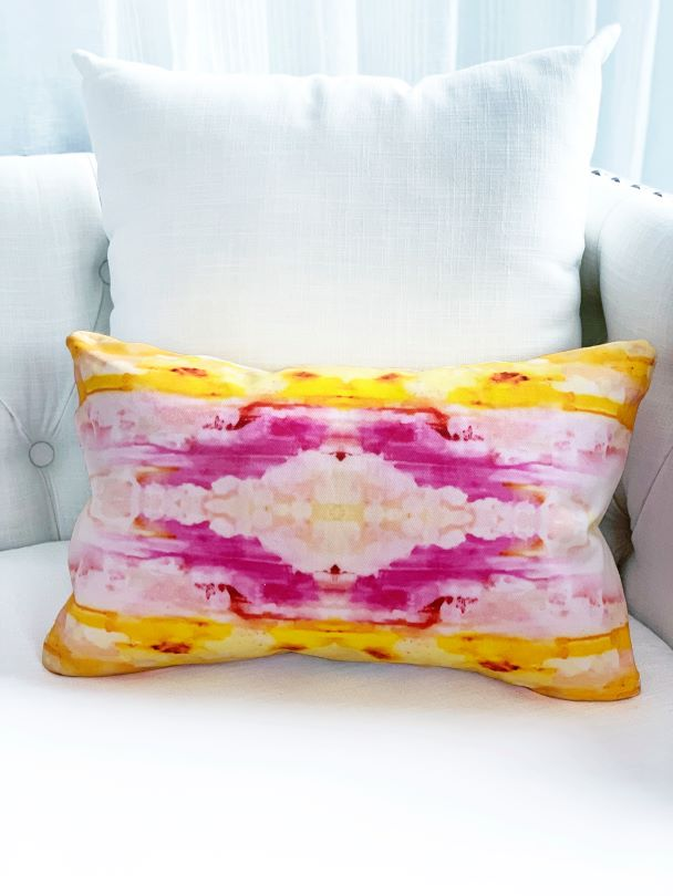 Sunshine yellow and pink long pillow for sale by Vivian Ferne