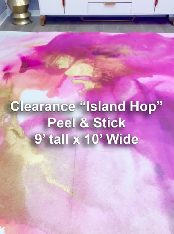 "Clearance Purple ""Island Hop"" Peel & Stick Wall Mural 9' tall x 10' wide"