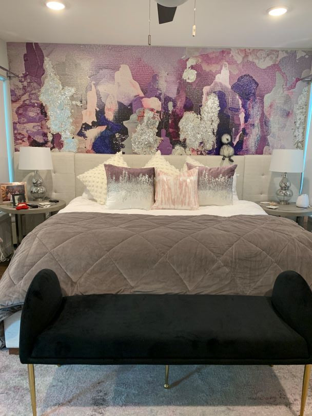 Purple Removable Wallpaper Accent Wall Behind Bed