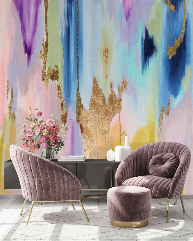 "Clearance ""Rainbow Eucalyptus"" Peel & Stick Wall Mural 85"" tall x 180"""