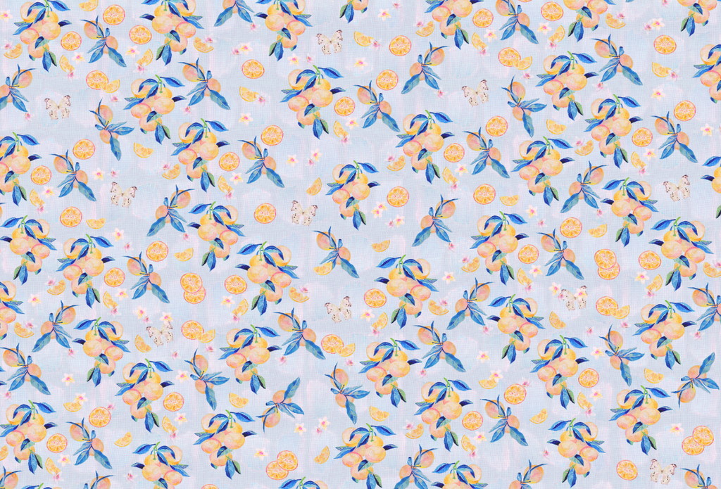Blue and orange hand painted designer wallpaper