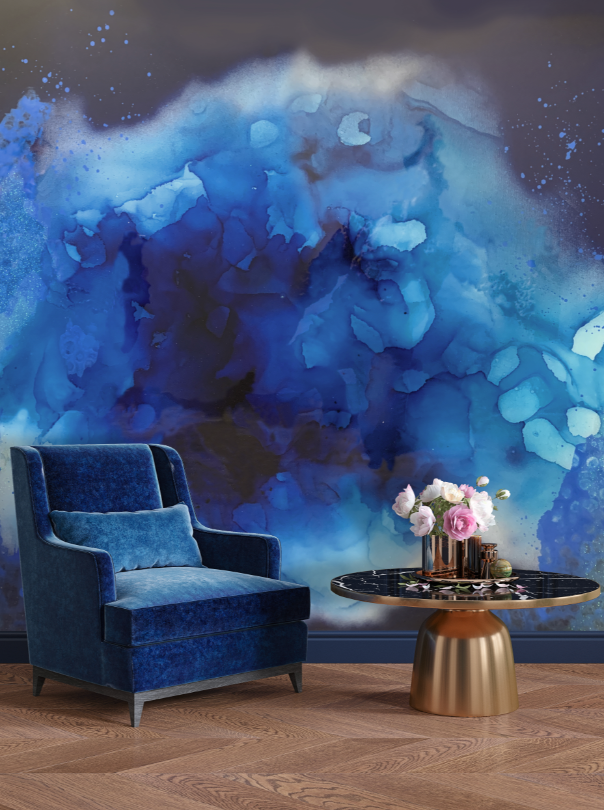 Blue watercolor wall mural peel and stick