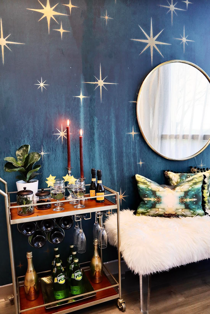 """Deep Teal Starburst"" oversized Wall Mural"