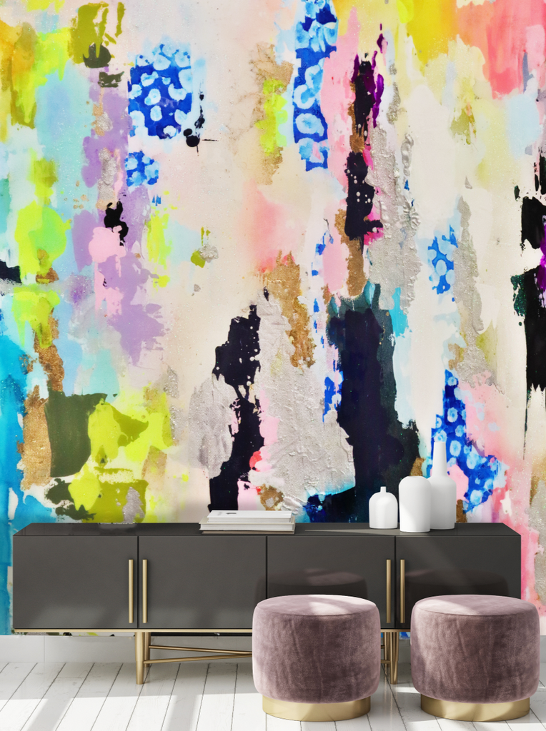 Colorful hand painted wallpaper accent wall