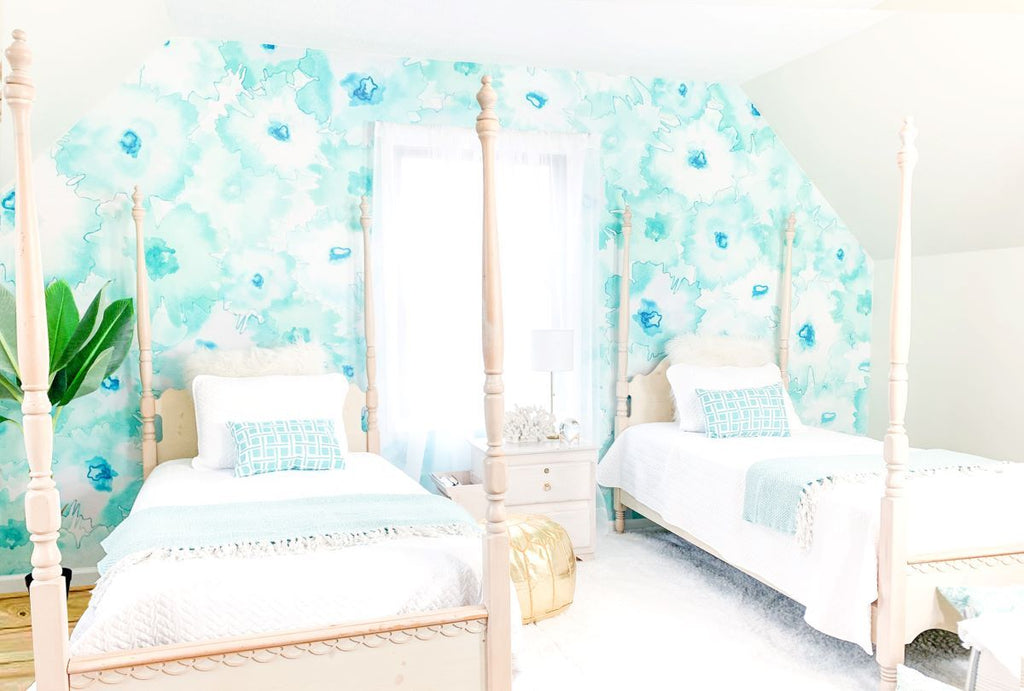 Bedroom aqua flowers wall mural