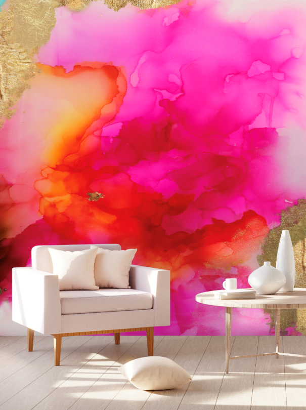 coral hand painted wall mural wallpaper
