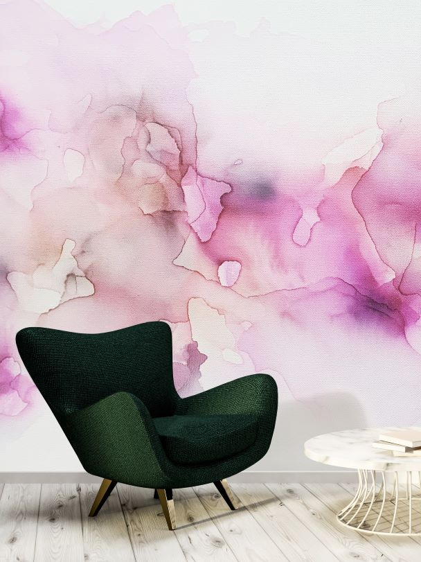 Pink, fuchsia, blush, peach, purple wall mural removable, peel & stick