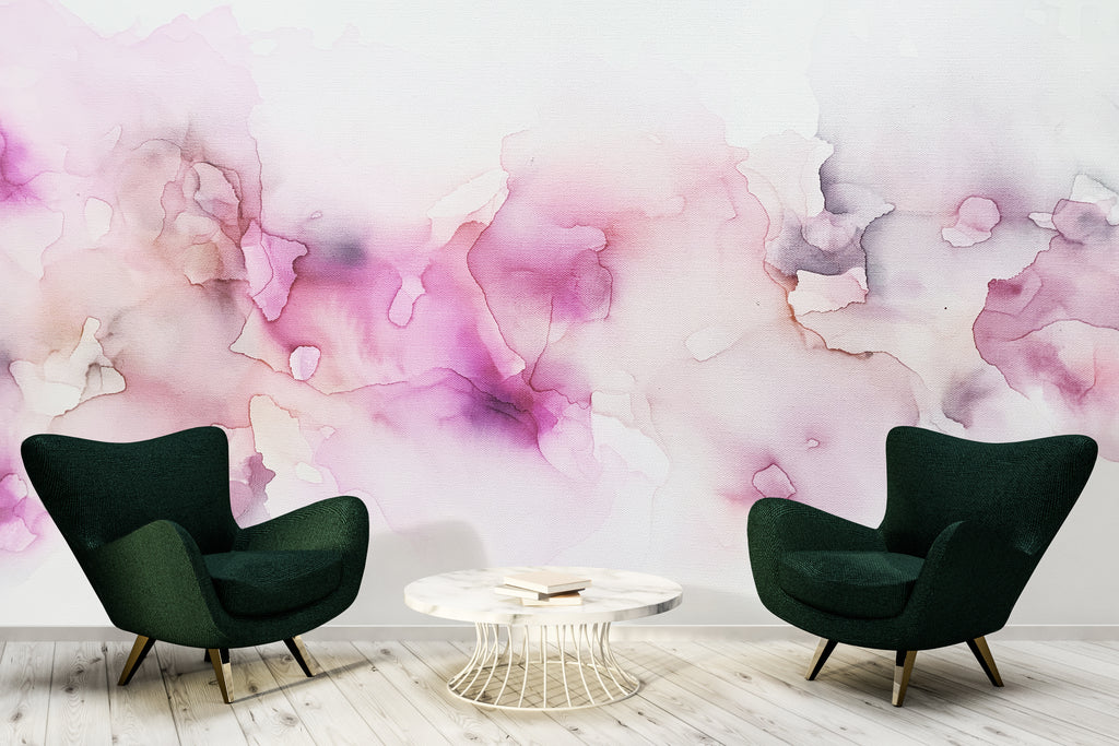 seating area pink wall mural wallpaper with gold accents