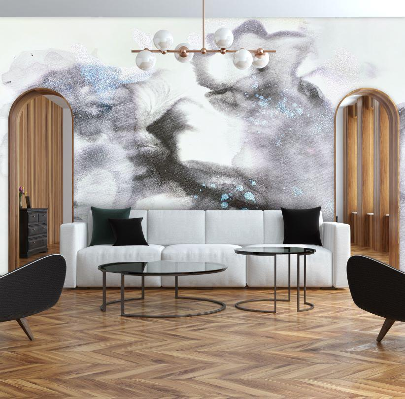 grey and white living room wallpaper mural