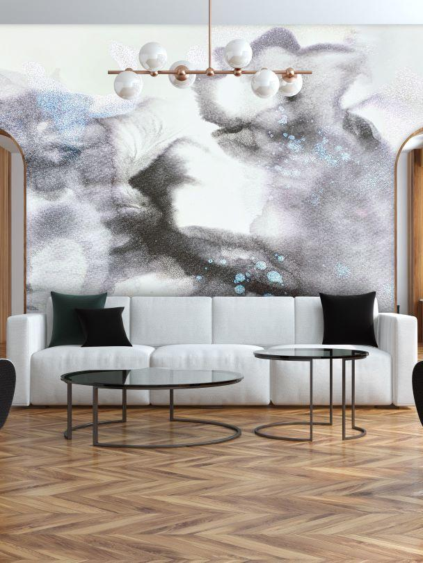 smokey grey and white wall decal