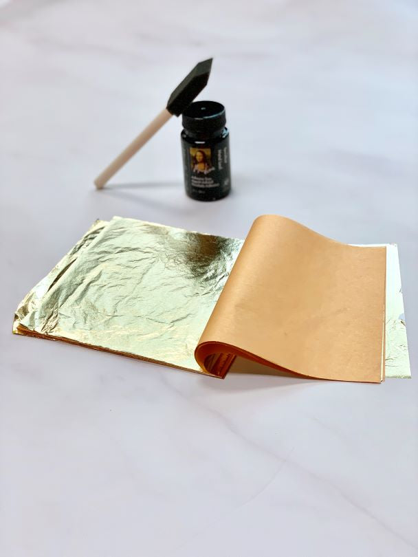 gold leafing kit to add embellishments to add authentic gold finish to wall art