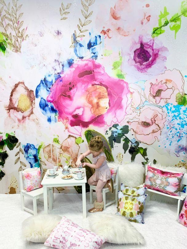 Abstract floral watercolor wall mural wallpaper