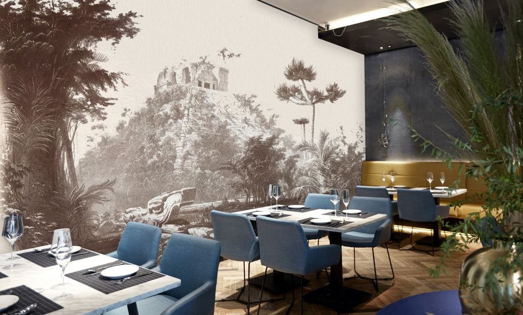 Full room view of a restaurant historical wall mural