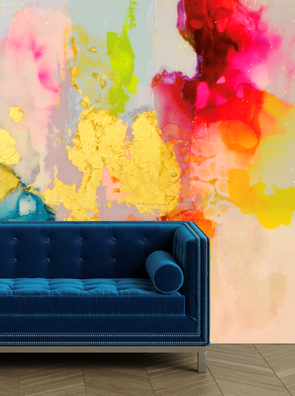 Abstract gold multi gold wall covering mural behind couch