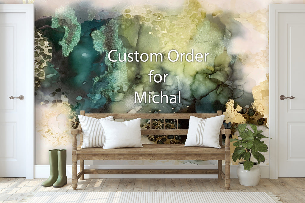 "Custom Emerald Storm Wall Mural 8' 8"" tall x 10' 2 3/4"" wide"