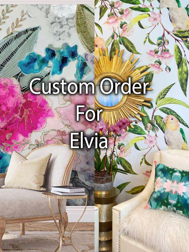 "Custom ""Juniper"" 92"" tall x 7' 11"" & ""Wisteria""  11' 10"" x 70"" tall Murals for Elvie"