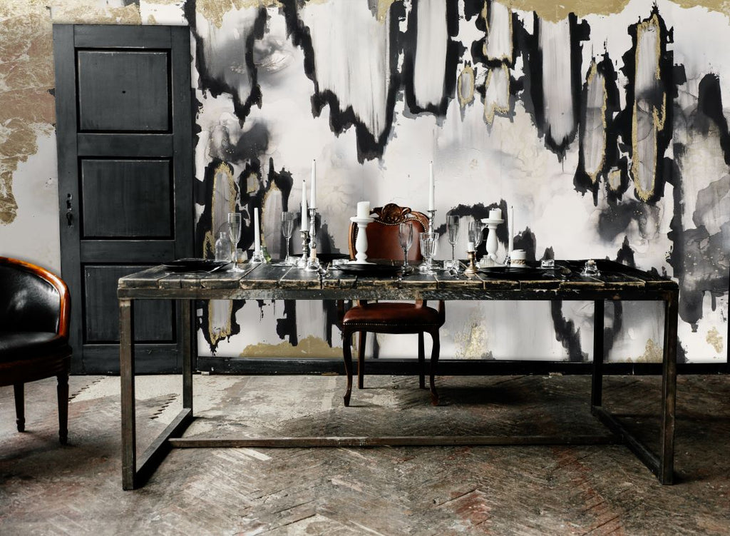 Black and white abstract removable wallpaper in dining room