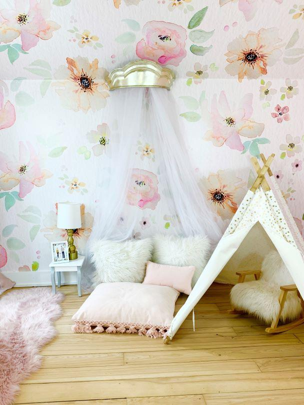 Pink Floral Watercolor Wallpaper in Playroom