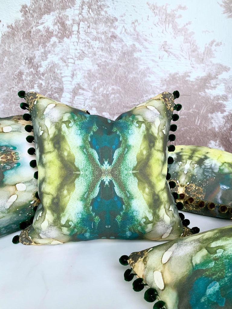 emerald green throw pillow, dark green throw pillow, green pillow