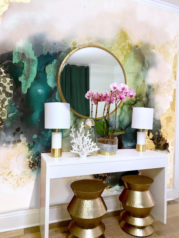 Abstract green decor wall mural