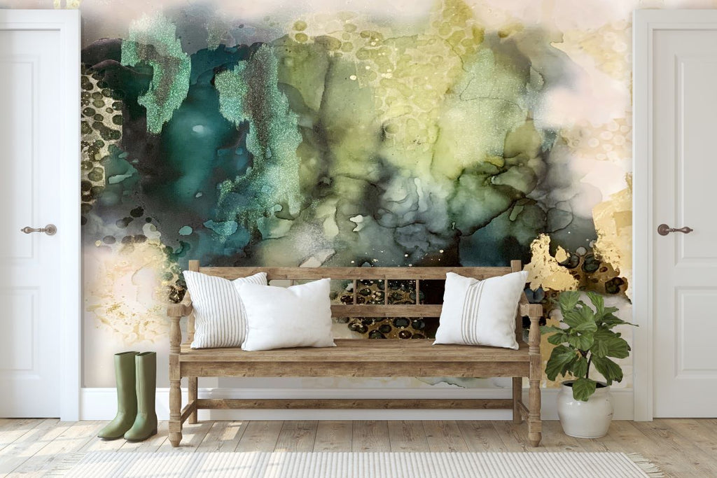 "Custom Emerald Storm Wall Mural 7' 4 1/2"" high  x 13' 11"""