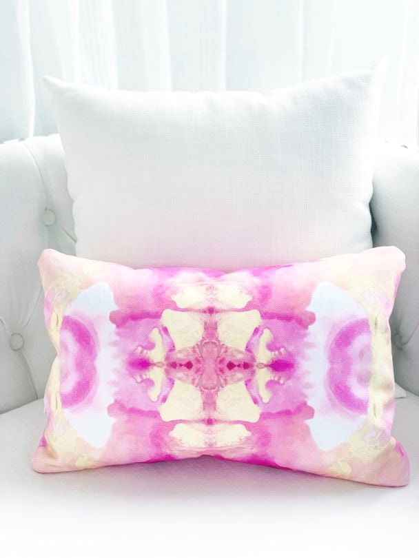 Pink and yellow decor throw pillow for sale