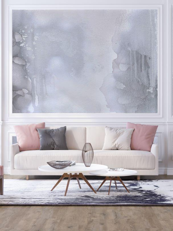 Grey removable wall mural behind a classic sofa